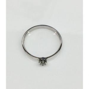 SOLITARIO ORO BIANCO PARIS, diamante 0.11 ct, colore G, SI