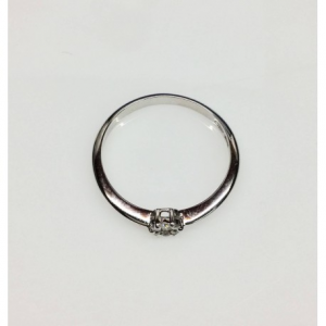 SOLITARIO ORO BIANCO ROSE, diamante 0.07 ct, colore G