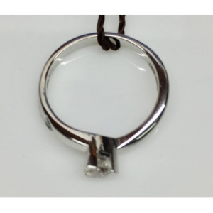 SOLITARIO ORO BIANCO LOUVRE, diamanti 0.30 e 0.01 ct, colore G, SI