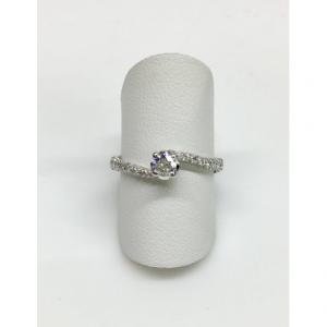 SOLITARIO ORO BIANCO MARY, diamante 0.19, colore G, SI