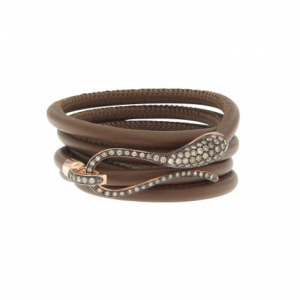 LEATHER BRACELET WITH PAVè ELIKA