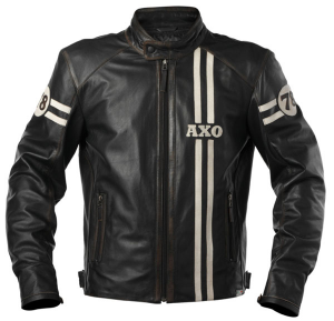 AXO GASOLINE Motorcycle Leather Jacket - Black