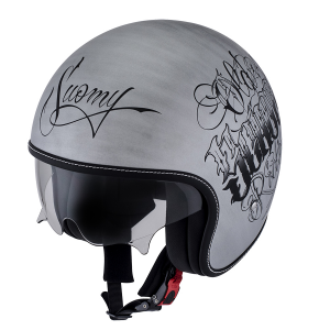 Casco jet Suomy Rokk Old School Rider Scratch in fibra argento
