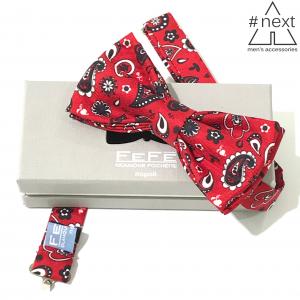 Fefè Glamour Pochette - Papillon 100% seta rosso bandana.