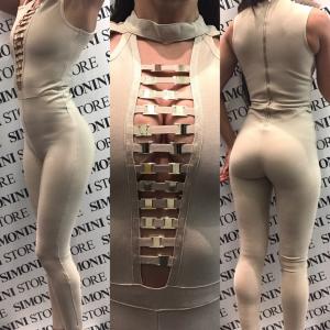 Tuta donna elasticizzata sexy con scollatura | colori Bianco Oro | Taglie S, M, L