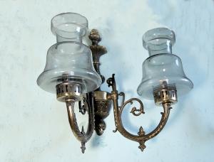 Applique in ottone e vetro