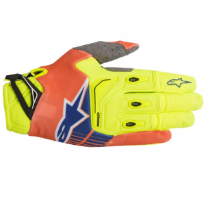 GUANTI MOTO CROSS ALPINESTARS 2018 TECHSTAR YELLOW FLUO ORANGE FLUO BLUE