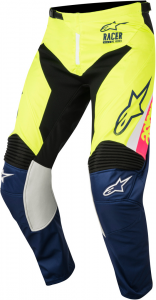 PANTALONI MOTO CROSS ALPINESTARS 2018 RACER SUPERMATIC WHITE DARK BLUE YELLOW FLUO cod. 3721518