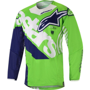 MAGLIA MOTO CROSS ALPINESTARS 2018 TECHSTAR VENOM GREEN FLUO WHITE DARK BLUE