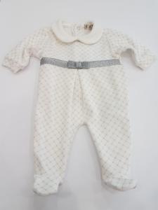 Tutina con fiocco argento neonata