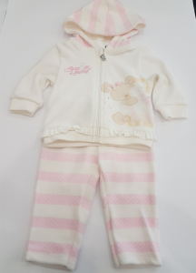 Completo in ciniglia a righe rosa da neonata