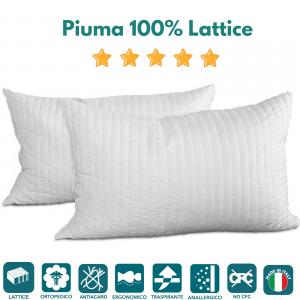 Coppia Cuscini in Lattice 100% Fiocchi effetto Piuma d'oca Morbido alti 12 cm ottimi per dolori cervicali