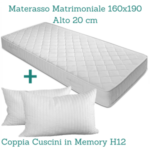 Materasso Fashion 100% Waterfoam 160x190 alto 20cm Ortopedico tessuto Anallegico + Coppia Cuscini Memory