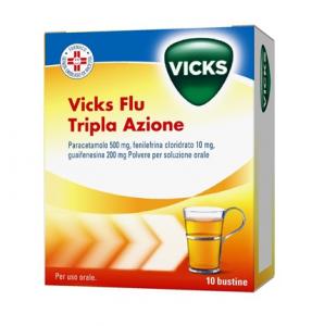 VICKS FLU TRIPLA AZIONE A BASE DI PARACETAMOLO 10 BUSTE