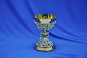Calice con Coppa in Argento con filigrana e lapislazzuli