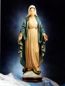 Statua Madonna Immacolata Miracolosa in fibra di vetro H 70 cm.