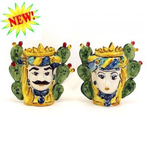 Coppia Teste Ceramica Con Fichi H.13 Ceramiche di Caltagirone