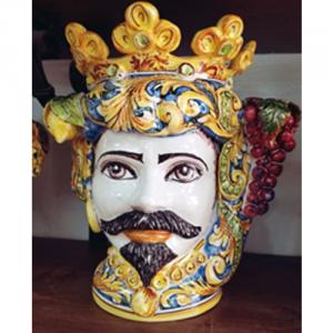 CoppiaTeste di Moro con frutta Ceramiche Caltagironeh40