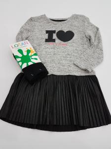 Vestito grigio con cuore nero