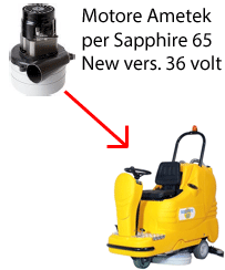 Sapphire 65 36 volt (NEW) Vacuum motors AMETEK for scrubber dryer Adiatek