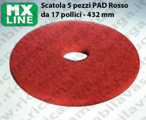 MAXICLEAN PAD, 5 peaces/box , Red color  17 inch - 432 mm | MX LINE