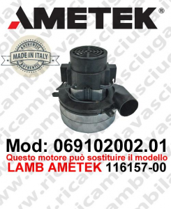 Vacuum motor 069102002.01 AMETEK ITALIA for scrubber dryer ,can replace the model LAMB AMETEK 116157-00