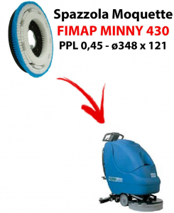 MOQUETTE BRUSH for scrubber dryer FIMAP MINNY 430. Model: PPL 0,45 C/FLANGIA ⌀348 X 121.