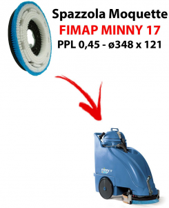 MOQUETTE BRUSH for scrubber dryer FIMAP MINNY 17. Model: PPL 0,45 C/FLANGIA ⌀348 X 121