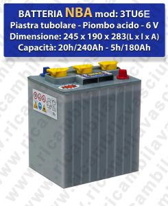 3TU6E Battery piombo - NBA 6V 240Ah 20/h