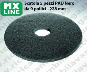 MAXICLEAN PAD, 5 peaces/box , Black color  9 inch - 228 mm | MX LINE
