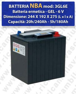 3GL6E Battery Ermetica GEL  - NBA 6V 240Ah 20/h
