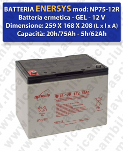 NP75-12R Battery  GEL  - ENERSYS - 12V 75Ah 20/h