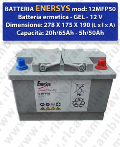 12MFP50 Battery  GEL  - ENERSYS - 12V 65Ah 20/h