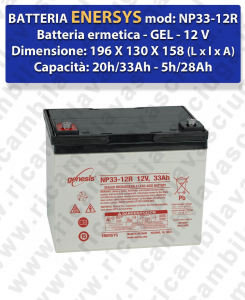 NP33-12R Battery  GEL  - ENERSYS - 12V 33Ah 20/h