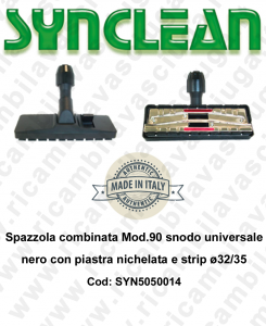 Combinated brush Mod.90 snodo universale black with piastra nichelata e strip ⌀32/35  - SYNCLEAN - Mod: SYN5050014