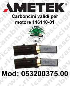 Couple carbon brush valid for vacuum motor  Lamb Ametek 116110-01. Cod: 053200375.00