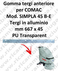SIMPLA 45 B - E Front Squeegee rubber for COMAC accessories, reaplacement, spare parts,o scrubber dryer squeegee