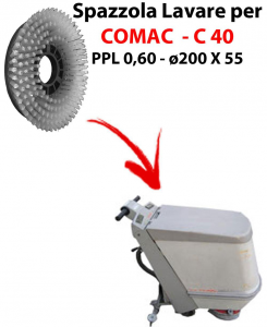 Cleaning Brush for scrubber dryer COMAC C 40 . Model: PPL 0,6 - ⌀200 X 55 mm -  SPECIAL BRUSH L17