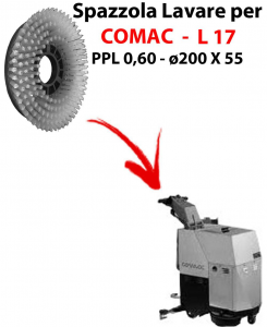 Cleaning Brush for scrubber dryer COMAC L 17 . Model: PPL 0,6 - ⌀200 X 55 mm -  SPECIAL BRUSH L17