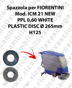 Cleaning Brush PPL 0.6 WHITE for scrubber dryer FIORENTINI Model ICM 21NEW