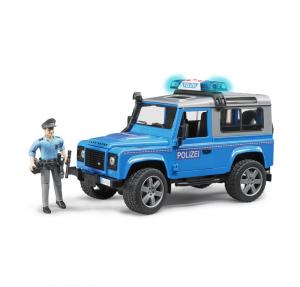 BRUDER LAND ROVER DEFENDER STATION WAGON DELLA POLIZIA CON POLIZIOTTO E ACCESSORI 2597