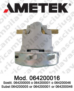 Vacuum motor 064200016 AMETEK ITALIA for scrubber dryer and vacuum cleaner. Replace 064200005 or 064200046 or 064200001