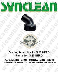 DUSTING BRUSH BLACK ø40 Accessories vacuum cleaner Brush Valid for Ghibli AS59 - Synclean Maxiclean MX59