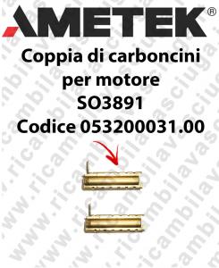 Couple of Carbon Motor brush for AMETEK MOTOR SO3891 Cod: 053200031.00