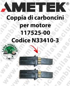 Couple of Carbon Motor brush for VACUUM MOTOR LAMB AMETEK 117525-00 cod. N33410-3