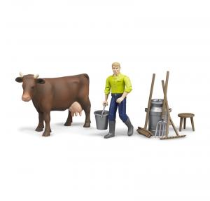 BRUDER AGRICOLTORE CON MUCCA ED ACCESSORI 62605