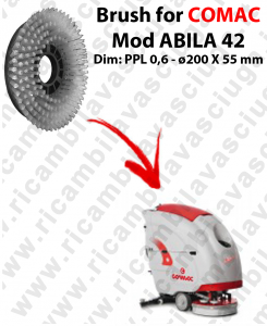 STANDARD BRUSH  for scrubber dryer COMAC ABILA 42 . model: PPL 0,6 - ⌀200 X 55 mm -  SPECIAL BRUSH L17