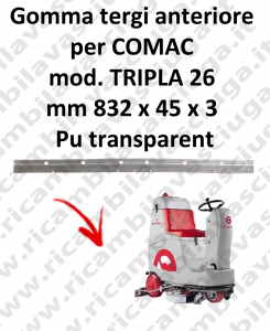 TRIPLA 26 squeegee rubber front for COMAC