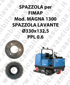 STANDARD BRUSH  for scrubber dryer FIMAP model MAGNA 1300 ⌀ 330 x 132.5 PPL 0.6