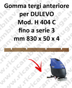 Front Squeegee rubber for scrubber dryer DULEVO model H 404 C till serie 3
